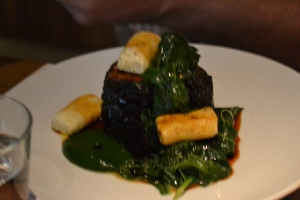 Steak with polenta dumplings and spinach puree