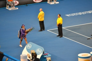 Li Na arrives for the ladies' final