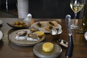 Manzanilla Olives, Smoked Aubergine Puree and Oysters