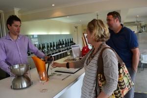 Greg and Simone taste the wine
