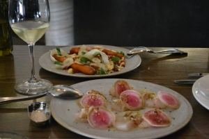Heirloom carrot salad, Kingfish sashimi