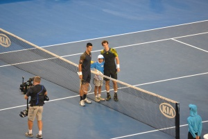 Murray and Djokovic at the  ball toss