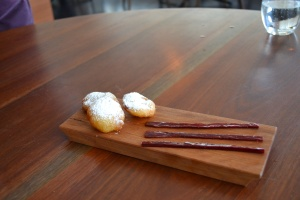 Sweet potato scallops and sticky rhubarb