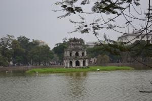 Pagoda in the lake in the Old Quarter