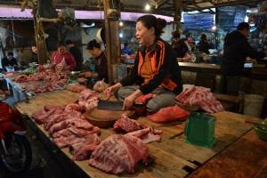 Sitting cross legged while butchering